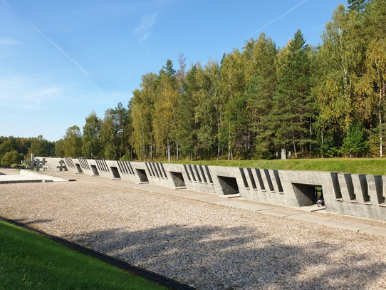 Belarus - Minsk - A monument to the death camps on Belarusian territory, the larger spaces represent camps where over 50,000 people were killed