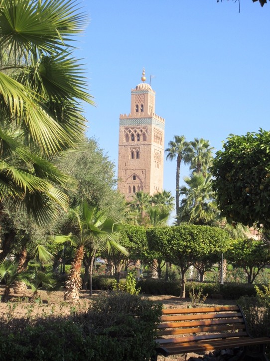 Morocco - Marrakech - The tallest landmark in Marrakech. The famous Koutobia mosque and it's beautiful gardens