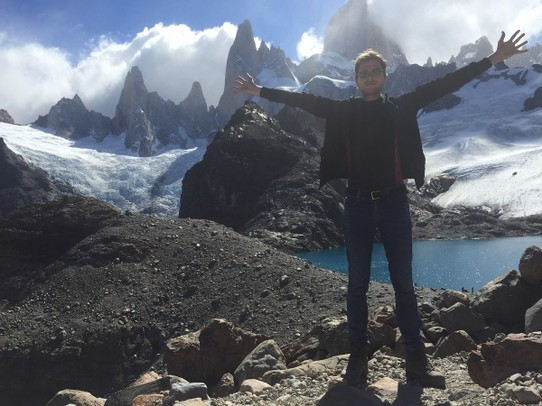 Argentina - El Chaltén - Michiel tries to add to the menacing quality of Fitz Roy