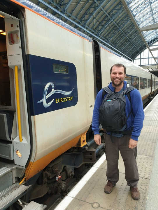 United Kingdom - London - We have a photo of Luke by the first train, now Luke by the Eurostar, our last train.