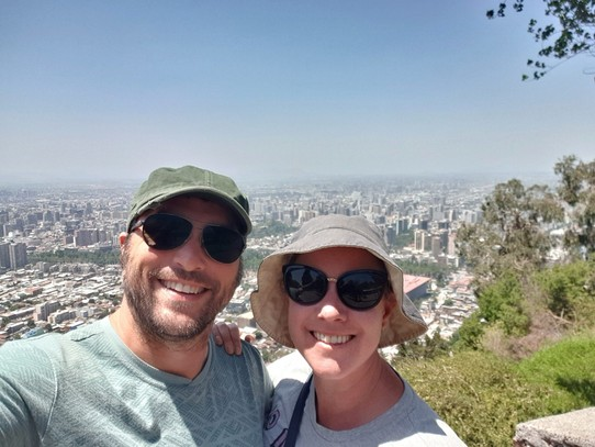 Chile - Santiago - Us on the top of San Cristobal Hill