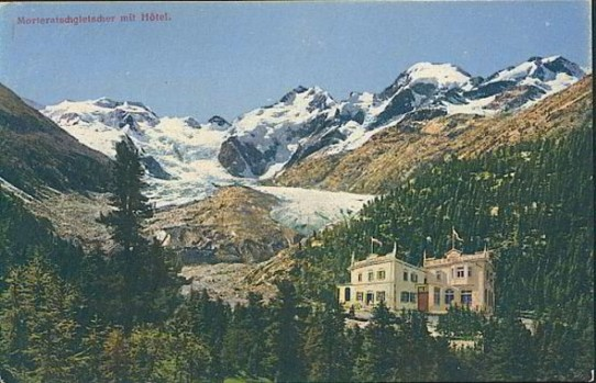 Schweiz - Pontresina/Engadin - Our Hotel 1900 with view to the glacier (old postcard )