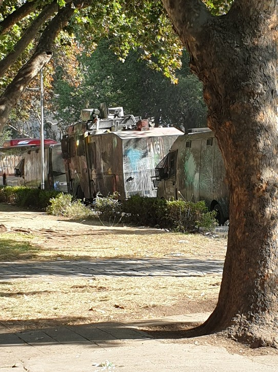 Chile - Santiago - Riot vehicles outside our hostel (aka Mad Max vehicles)