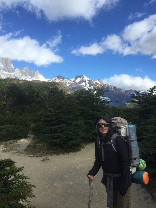 Argentina - El Chaltén - Trekking through the beautiful landscape with everything on our backs.