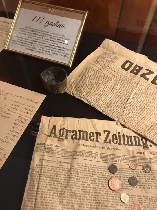 Croatia - Zagreb - Buried newspapers and coins - Palace Hotel Zagreb