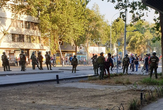 Chile - Santiago - The worst night of the protests - police cordon beyond our hostel